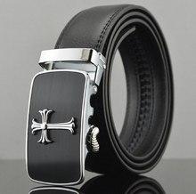 [Т. Г.] новый Дизайнер Черный Натуральная Кожа Крест Автоматическая Пряжка Мужские Пояса Коускин Cinto Человек Ремень Мужские Ремни Пояса для продажи