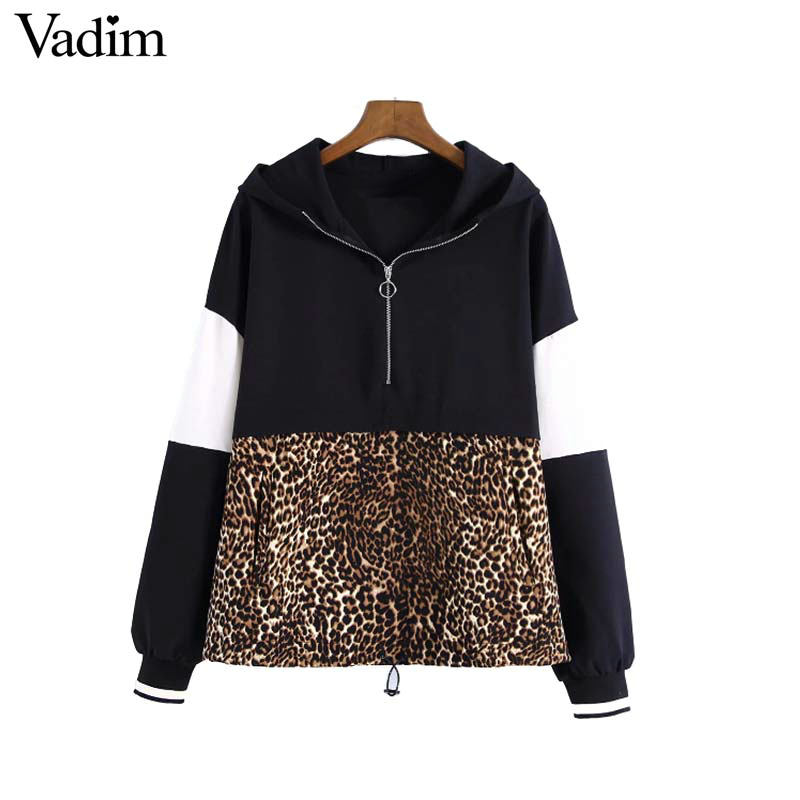 Vadim Women Leopard Hooded Sweatshirts Animal Pattern Patchwork Pockets Drawstring Tie Pullovers Female Casual Chic Tops Ha165