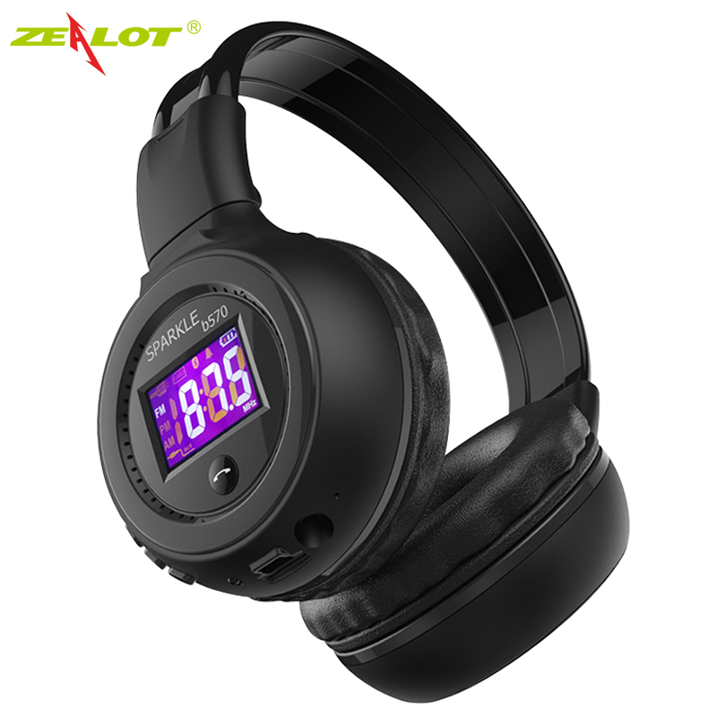 ZEALOT B570 Foldable Stereo Hifi Bluetooth Headphone Wireless Headset With LCD Screen Micro-SD Card Slot Mic FM Radio For Music bluedio h bluetooth headphone stereo wireless earphones built in mic micro sd fm radio over ear noise canceling hifi headset