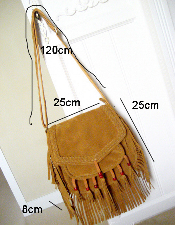Women Fringe Shoudler Bag Faux Suede Beaded Ibiza Boho Chic Hippie Gypsy Music Bohemian Fringe Brown Crossbody Bag (1)
