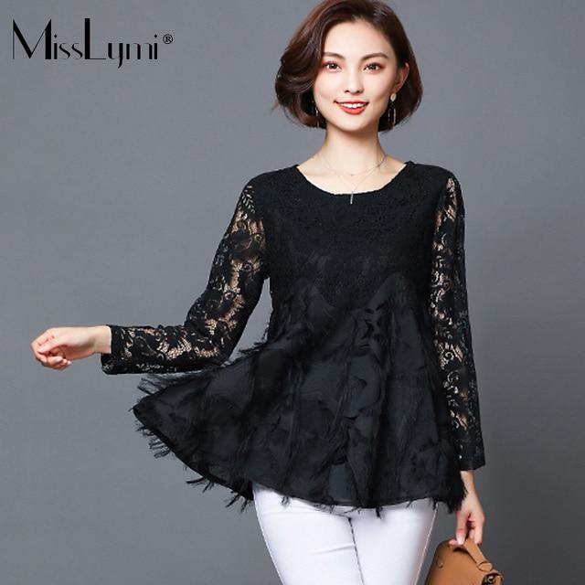 MissLymi L-5XL Plus Size Women Lace Tops 2018 Spring Fashion O-neck Long  Sleeve Geometry Five-pointed star Tassel Elegant Shirt b9a44ff385d3