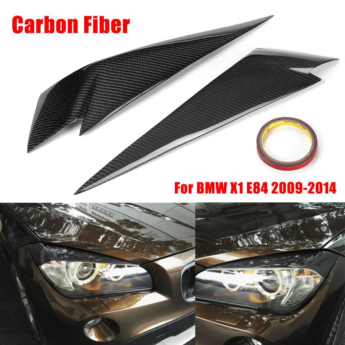 1 paire De Fiber De Carbone paupières de Phares Paupières de Couverture Garniture pour BMW X1 E84 2009-2014 Car Styling pour Avant projecteur