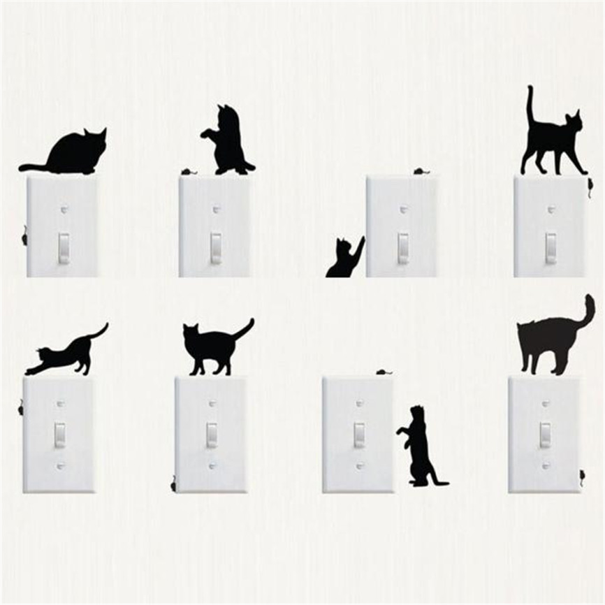 Wallpaper Sticker Cute Room Window Wall DIY Cat Decorating Switch Vinyl Decal Sticker Decor Cartoon Wallpaper For Living Room B#
