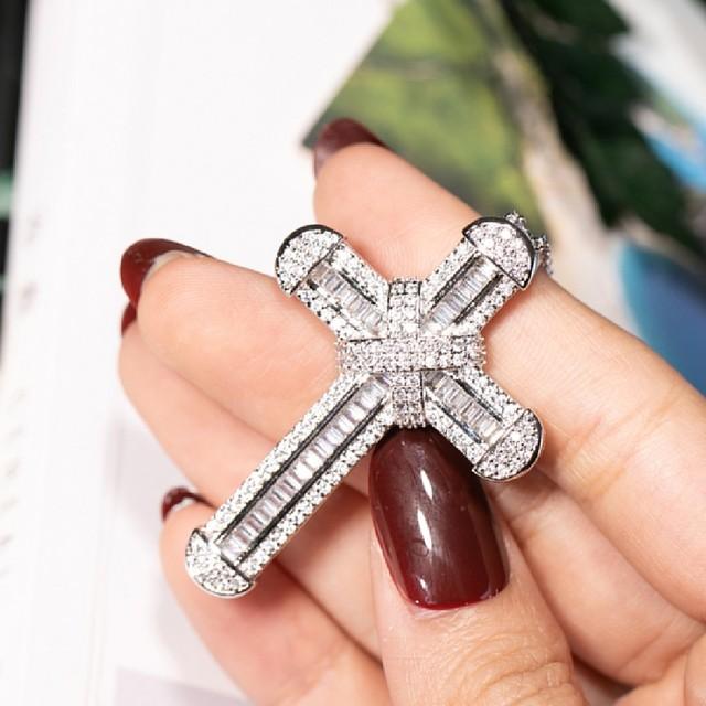 New 925 Silver Exquisite Bible Jesus Cross Pendant Necklace for women men Crucifix Charm Simulated Platinum Diamond Jewelry N028