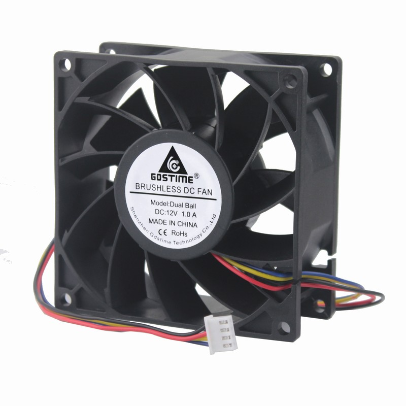 Gdstime 1 Piece 92mm Dual Ball 12V PC Case CPU Radiator 9cm 9238 Brushless Computer DC Cooling Fan 90mm x 38mm 4 Pin 4 Wire for avc dssc0715r2l p002 dc 12v 0 3a 4 wire 4 pin connector 100mm 70x70x15mm server square cooling fan