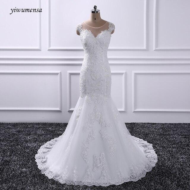 Yiwumensa Lace Mermaid Wedding Dresses Vestido De Novias Sleeveless