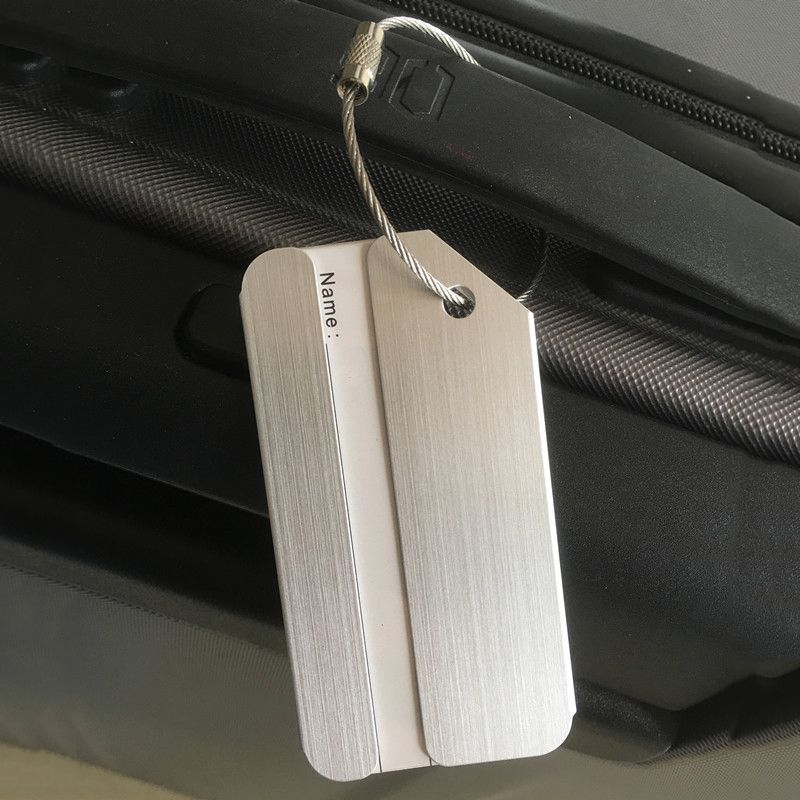 LJL New Aluminium Travel Luggage Baggage Tag Suitcase Identity Address Name Labels(Silver)