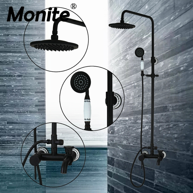 New Bathroom Shower Sets Wall Mount Oil Rubbed Bronze 8 Brass Shower Head+Ceramic Heldhead Shower Faucet Set Bathtub Torneira black oil rubbed bronze wall mounted toothbrush holder with two ceramic cups set bathroom accessories wba859