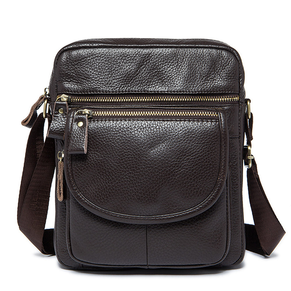 Men Shoulder Bags Genuine Leather Vintage Brown Black Business Messenger Bag Multifunction Casual Travel Crossbody Pack Rucksack genuine leather men shoulder bags brown black business messenger bag vintage multifunction casual travel crossbody pack rucksack