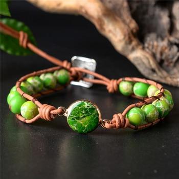 Livraison directe bracelets d'enveloppement pierres naturelles Regalite cuir corde Bracelet Boho Bracelet cadeau de noël à la main
