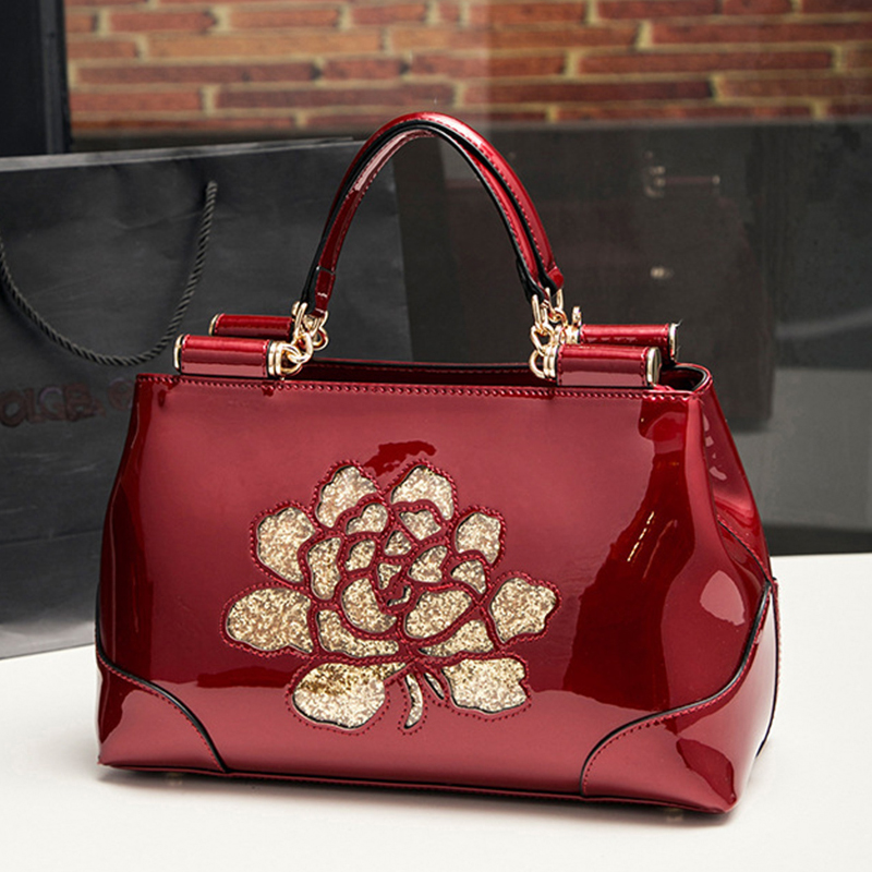 Satchels Women Handbag Patent Leather Shoulder Bags For Women Summer Fashion Solid Color with Embroidery Floral Messenger Bag patent leather handbag shoulder bag for women