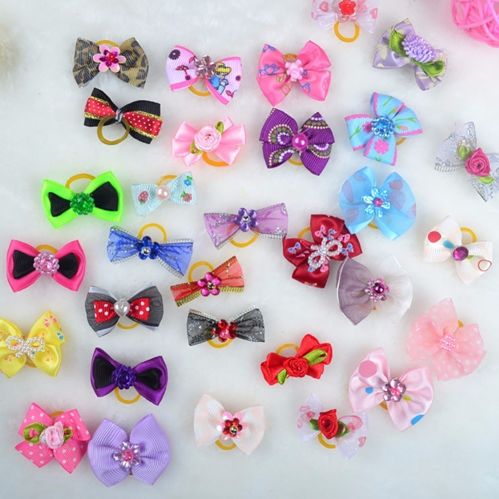 Mixed Cute Pet Bowknot Headdress Decorative Rubber Band (10pcs Packed for Sale) (Delivered at Random with Mixed Colors)