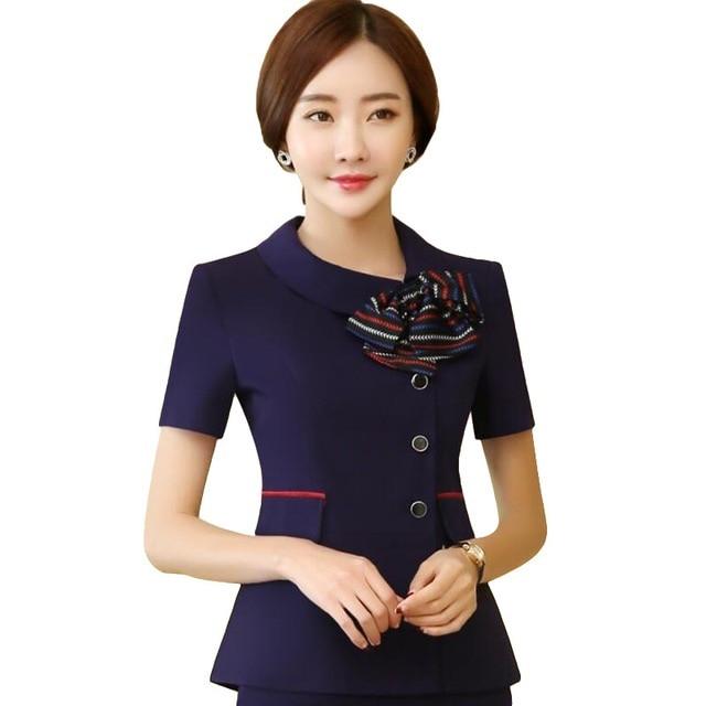 Летняя мода формальный женский Блейзер Новый Элегантный бизнес короткий рукав куртки с бантами офисные женские большие размеры рабочая одежда формы