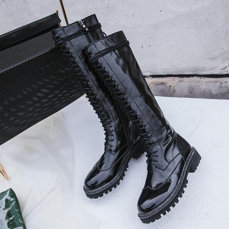Cuir black Cow En Martin Patent Bottes Et Femmes Plate Automne Leather Étanche Avec 2018 Nouvelle forme Fond Leather La Confortable Black Souple Main À Vache Épais D'hiver qS084YB