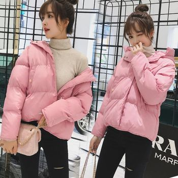 Brieuces new hooded women winter jacket short cotton padded coat autumn casaco feminino inverno color parka stand collar