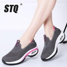 STQ 2020 Autumn Women Sneakers Flats Shoes Mesh Slip On Tenis Feminino Ladies Platform Casual Shoes Creeper Mocassin Woman 108