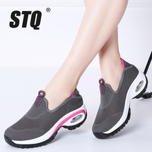 STQ 2020 sonbahar kadın Sneakers Flats ayakkabı örgü üzerinde kayma Tenis Feminino bayanlar platformu rahat ayakkabılar sarmaşık mokasen kadın 108