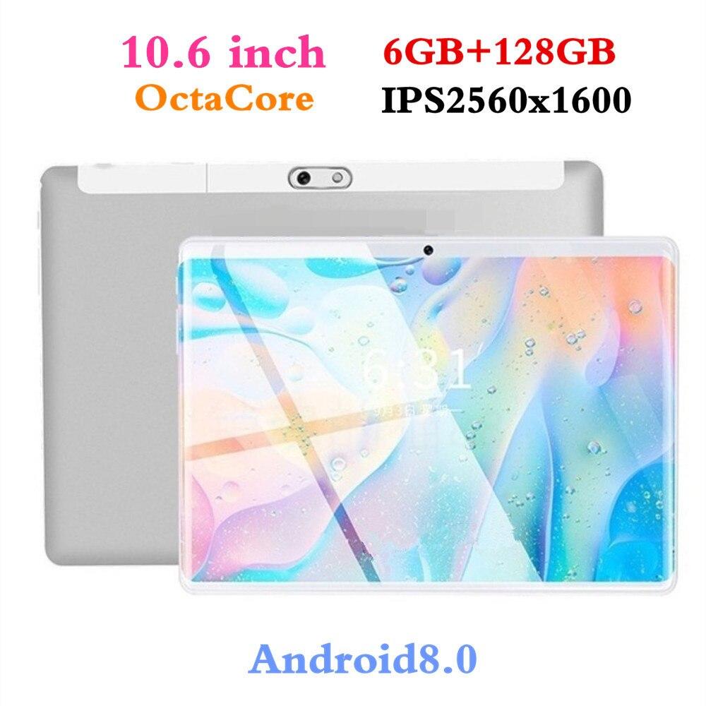 10.6 pouces Comprimés 2560*1600 Pour Android8.0 3G Octa Core PC Comprimés Pouvoir de Résolution 8MP 8000 mAh Bureau 6 GB + 128 GB Tablet 9 10 10.1