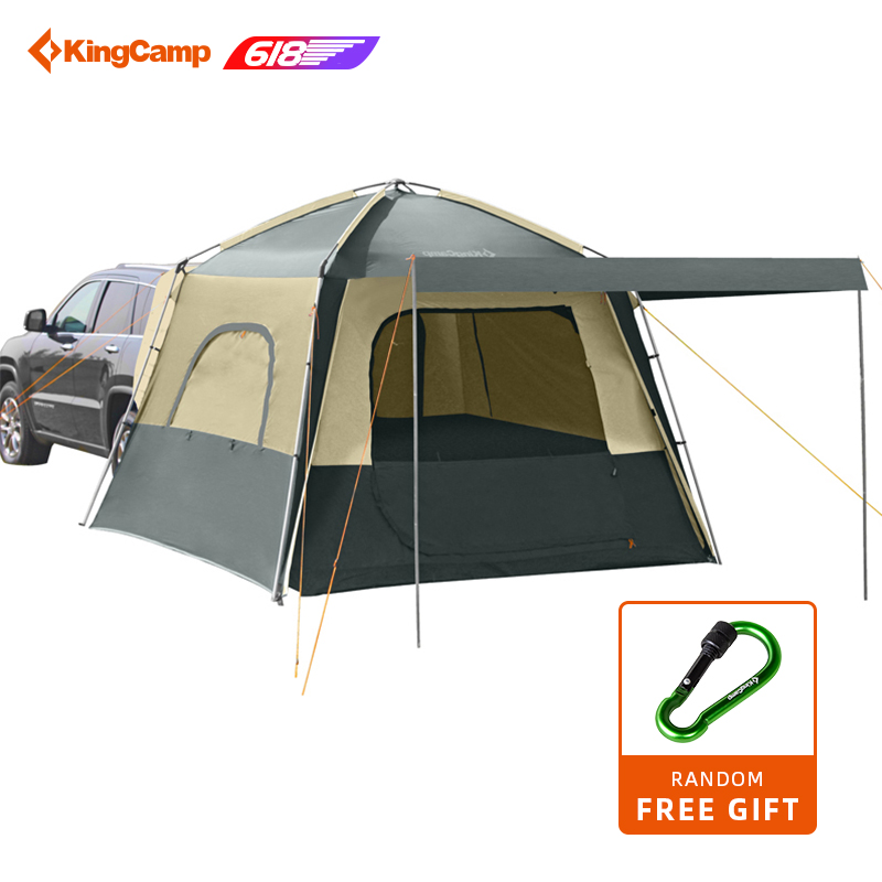 KingCamp Self-driving Travelling Camping Tents 5-Person Camping Double layer Tent 4-Season Using SUV Car Tent for Outdoor