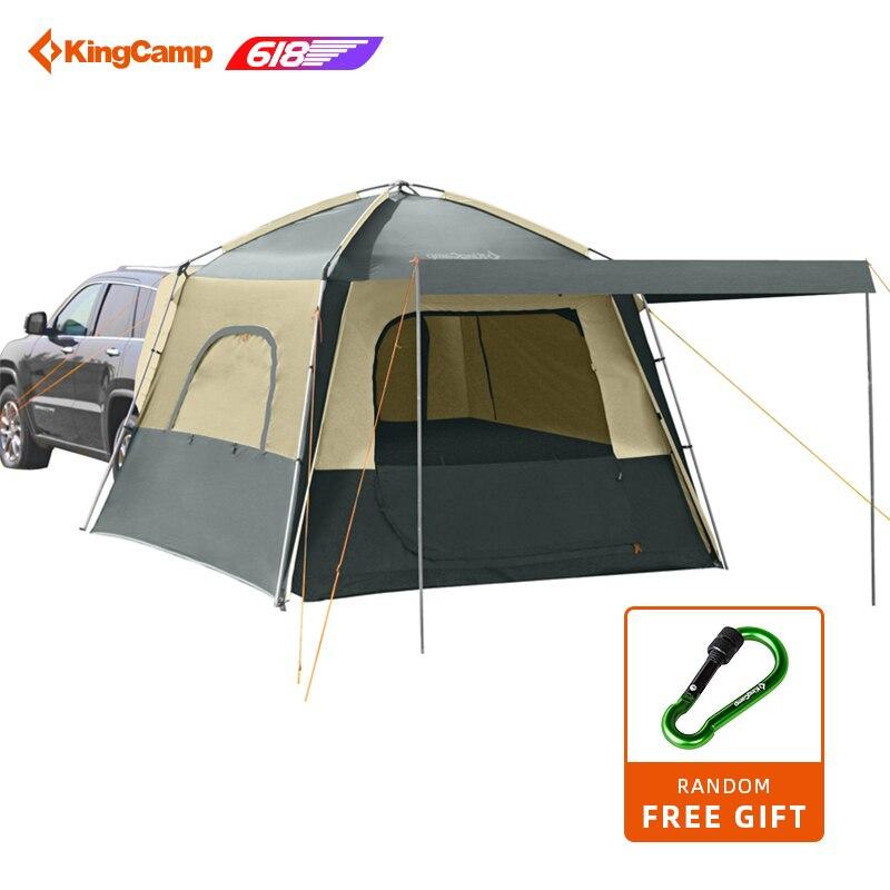 KingCamp auto-conduite voyage Camping tentes 5 personnes Camping Double couche tente 4 saisons en utilisant SUV voiture tente pour l'extérieur