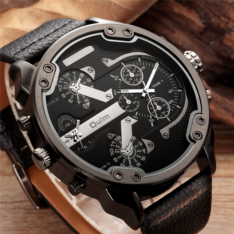 Topdudes.com - Top Men's Denim Blue Double Time Zone Big Dial PU Leather Casual Quartz Wristwatch