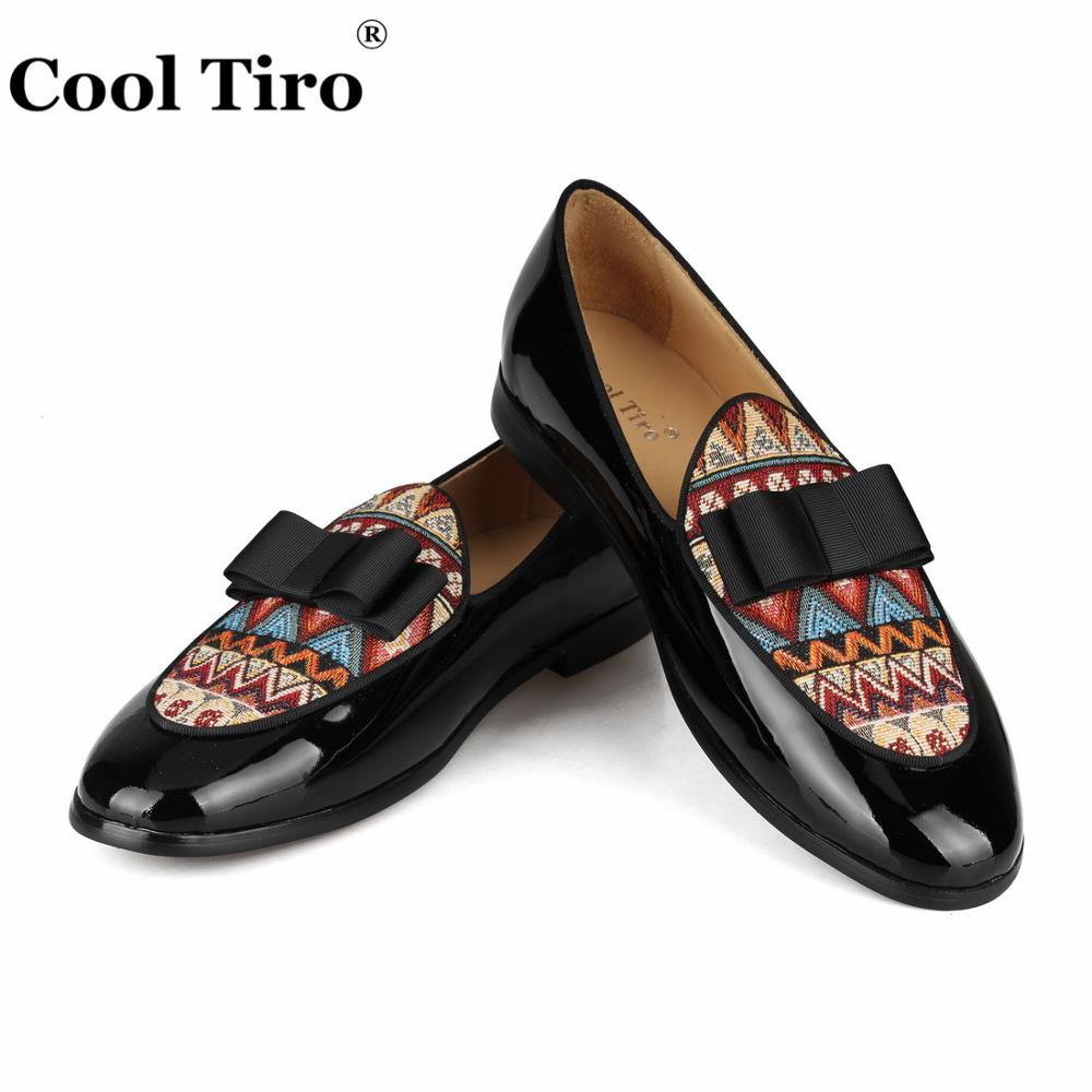 Cool Tiro Black Patent Leather Loafers Men Moccasins Bow Tie Slippers Wedding Dress Shoes Flats Casual