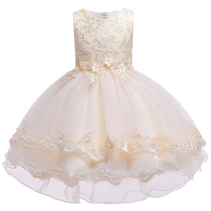 Image 3 - Kinder Geburtstag Kleidung Stickerei Spitze Großen Bogen Baby Mädchen Kleid für Hochzeit Kinder Kleider für Mädchen Hinter Kleid