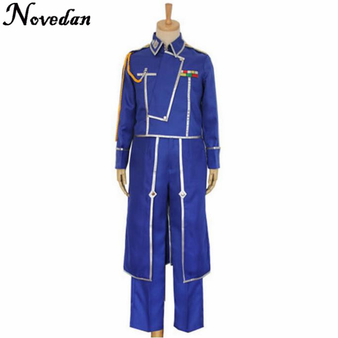 Fullmetal Alchemist Cosplay Anime Roy Mustang Costumes Military Uniform Suit Coat/Jacket + Pants +  Gloves