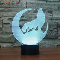 LED Desk Lamp Wolf Animal Night Light Bedroom 3D Table Lampe Energy Saving Decorative Lamp For