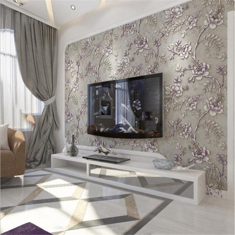 3d Relief moderne Europe luxe fleur papier peint rouleaux blanc et gris papier peint pour salon décor hôtel bureau revêtement mural - 5