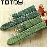 TOTOY green men's leather strap, handmade leather crocodile strap, 20MM for green dial strap, fast delivery