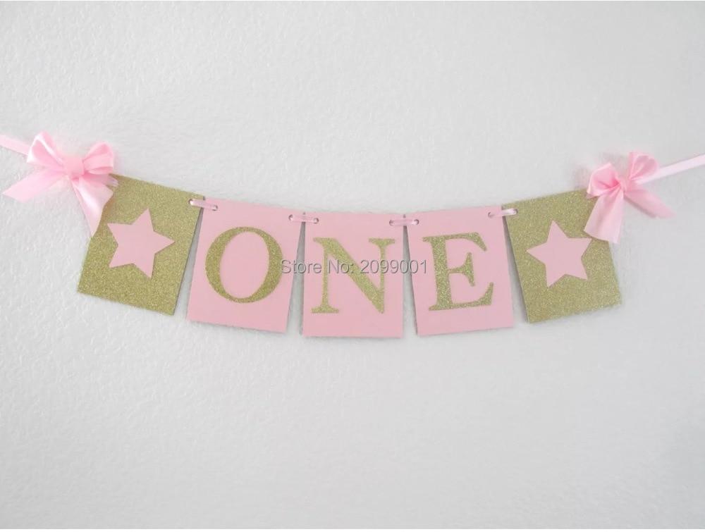 Geburtstag Hochstuhl Baby Shower Party Decor YR Glitter ein Banner Girl Boy 1