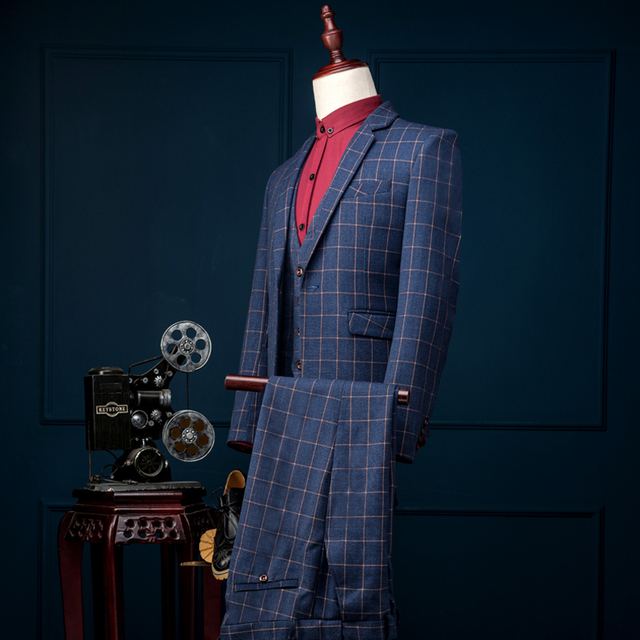 Men Suit Slim Fit Blue Plaid Luxury Mens Groom Prom Latest Coat Pant Designs Single Breasted Wedding Suits