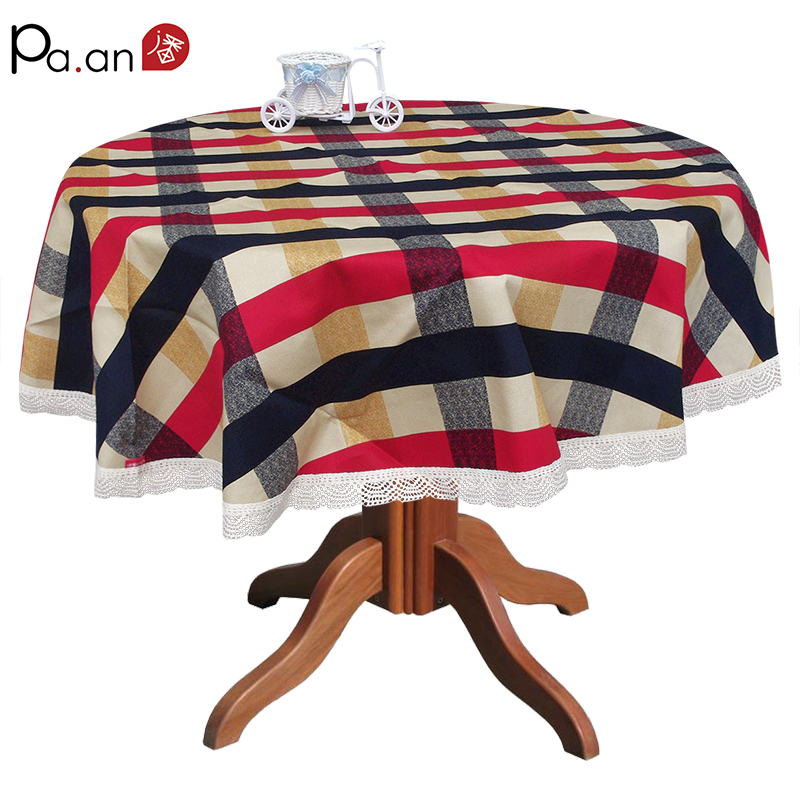 Mediterranean Home Textile Tablecloth Round Plaid Table Cover Lace Edge Thick Table Cloth Dustproof Party Wedding