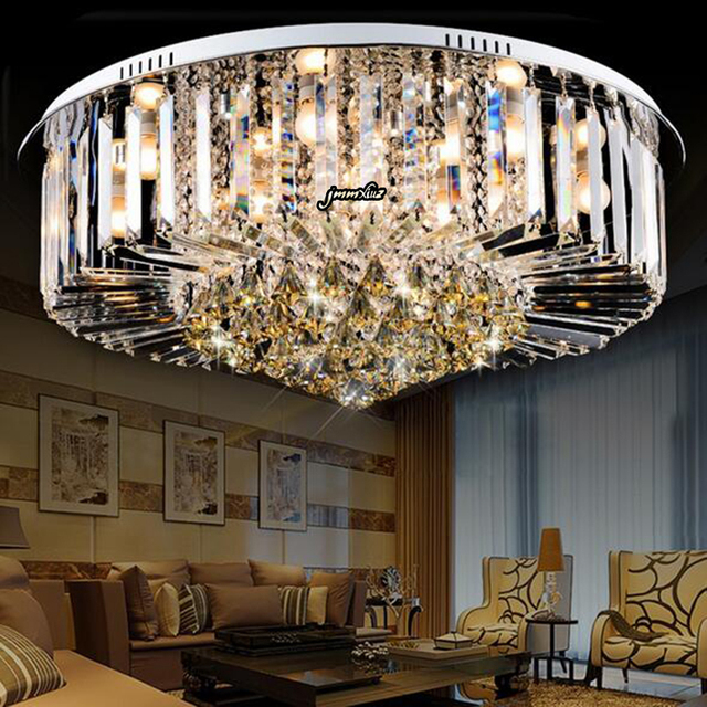 Jmmxiuz 2018 NEW modern Round K9 Crystal Ceiling Lamp LED Lighting Lamps Living Room Restaurant Crystal Lights Free Shipping
