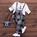 2017 new Spring Baby Sets Girls Boys infantil Bebe Cotton T-shirts+Plaid Overalls Pants Two Pieces Suits Kids Clothing Sets