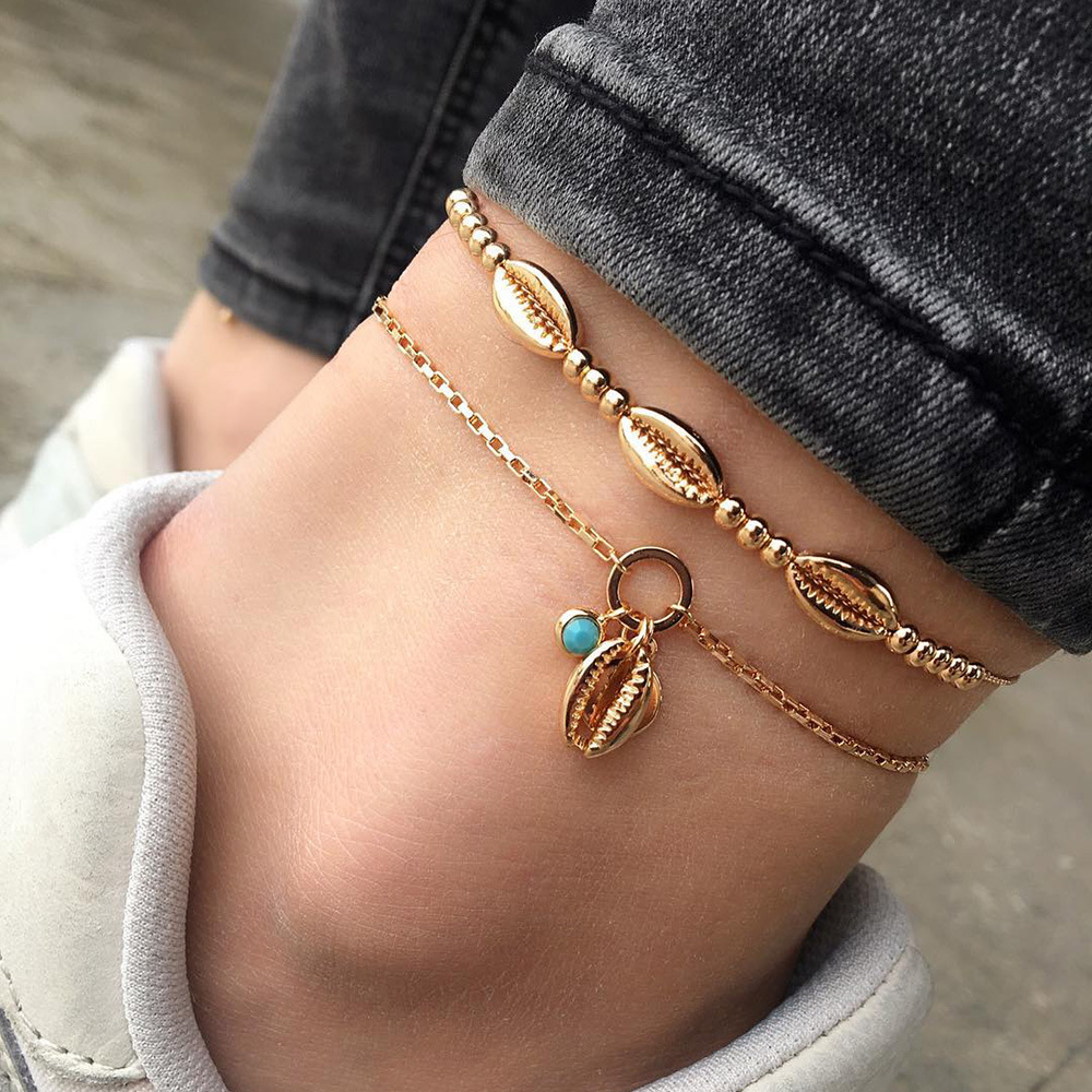Bohemian Handmade Sea Shell Beaded Anklet For Women Summer Beach Adjustable Gold Cowrie Ankle Bracelet Foot Jewelry JZ006