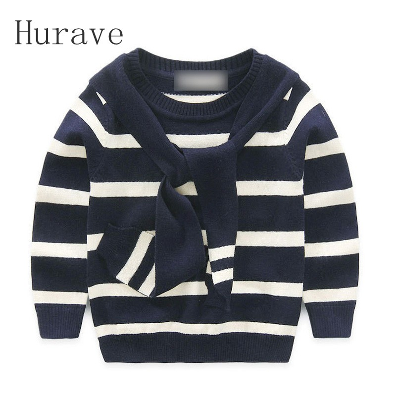 Hurave Children Pullovers New Style 2017 Kids Autumn Winter Boys Sweaters Fashion Striped O neck Knitted