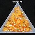 500 pcs 3d dicas da arte do prego 6mm ss30 orange jelly ab cores Resina Flatback Strass Hotfix não Usar Cola Em Unhas decoração