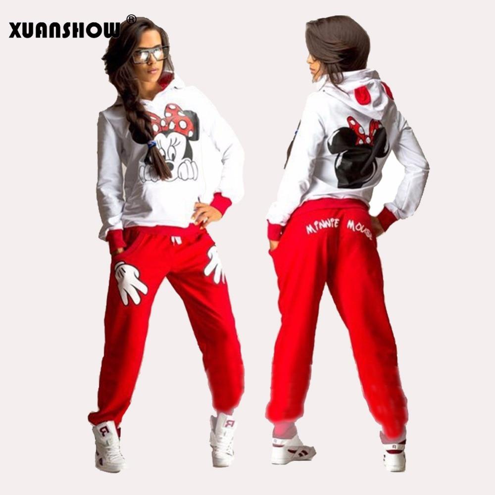 XUANSHOW Donne Set Casual Sportivo Carino Orecchio Mouse Del Fumetto Stampato Con Cappuccio a maniche lunghe Vestito Tenue Tuta Femme