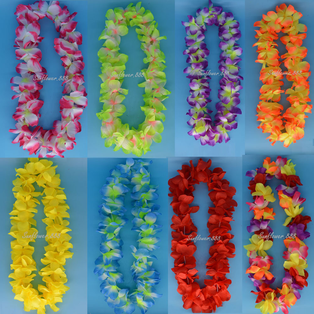 Hawaiian luau beach party flower lei necklace hula garland flower hawaiian luau beach party flower lei necklace hula garland flower decor headband garland party supplies halloween in artificial dried flowers from home izmirmasajfo