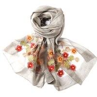 190 80cm Women Silk Scarves Embroidery Floral Bandana Fashion New Long Cool Feeling Sunscreen Beach Shaw
