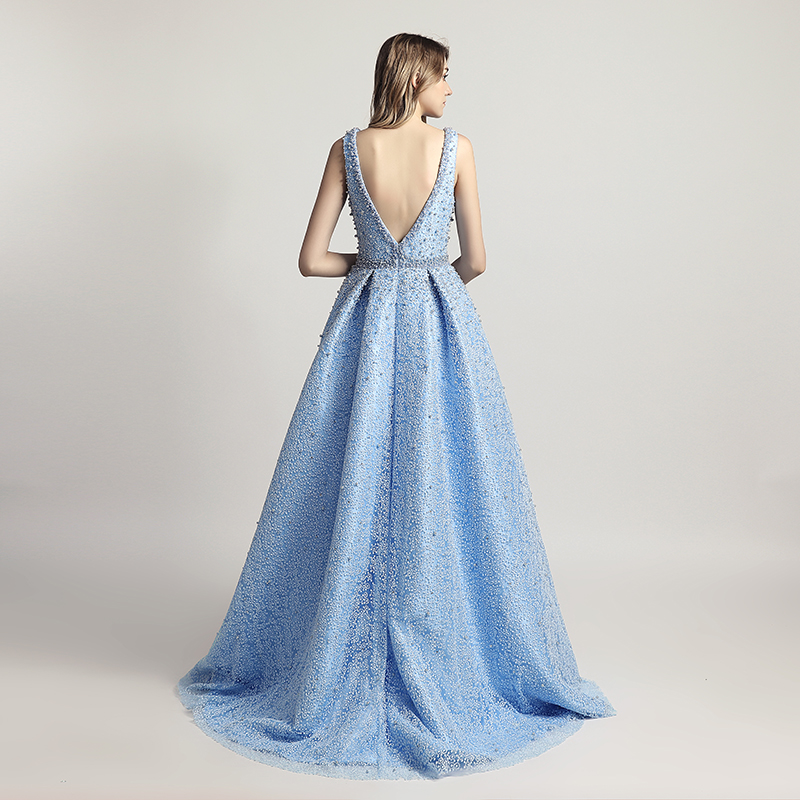 Heavy Pearls Beaded Luxury Ball Gown Celebrity Dresses Sexy V-Neck Red Carpet Dress Sky Blue Formal Evening Party Gowns OL442