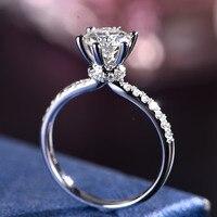 Модное кольцо из белого золота Moissanite, 18 K, белое золото, 1 карат муассанит, кольца для девочек