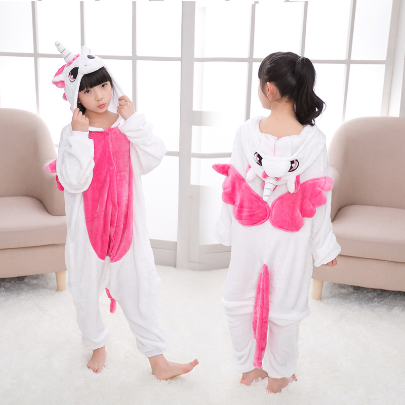 EOICIOI Animal Children Pajamas Set Flannel Hooded Stitch Unicorn Panda Pajamas Onesies Cosplay Kids Sleepwear For Boys Girls in Pajama Sets from Mother Kids