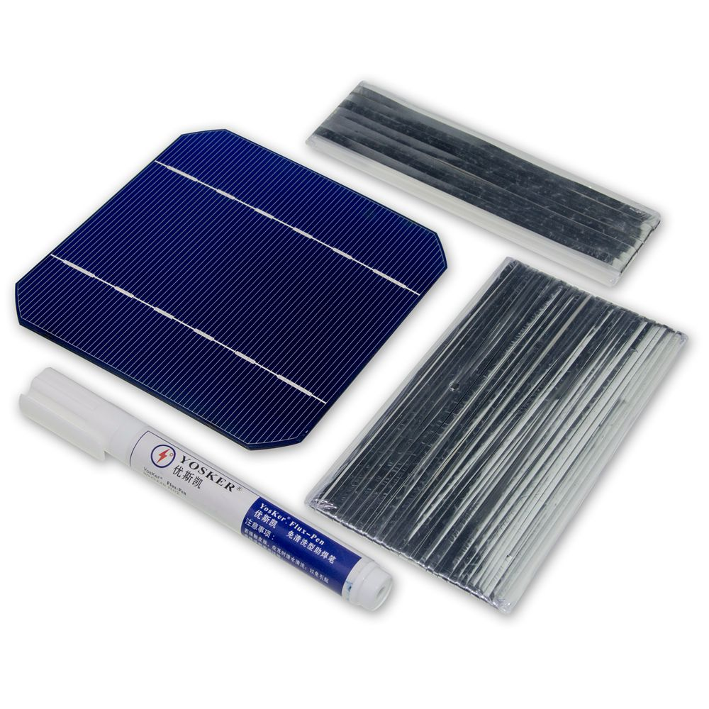 50Pcs Monocrystall Solar Cell 5x5 With 20M Tabbing Wire 2M Busbar Wire and 1Pcs Flux Pen