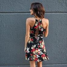 ФОТО fashion a-line ruffles floral print summer dress women deep v neck backless bandage sexy dress casual party short dress vestidos