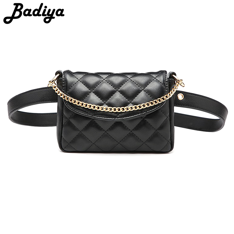 Designer Luxury Brand Belt Fanny Packs Plaid Waist Bag For Women Adjustable Belt Bags Metal Chain Crossbody Bum Bag Ladies