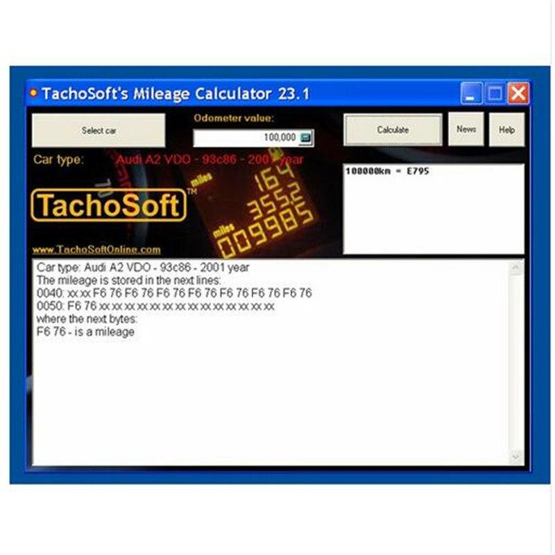 tachosoft 23 1 mileage calculator software odometer mileage tester