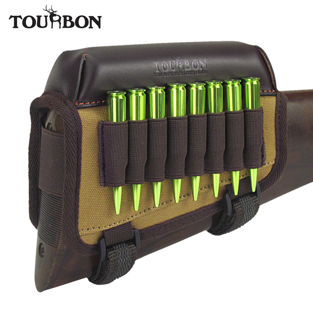 Tourbon Shooting Rifle Canvas & Leather Cheek Rest Riser Pad m / Ammo Cartridges Hållare Carrier Jakt Gun Tillbehör